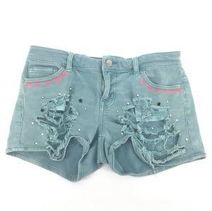 BKE Denim Shorts 27 Jean Distressed Sparkle Pocket